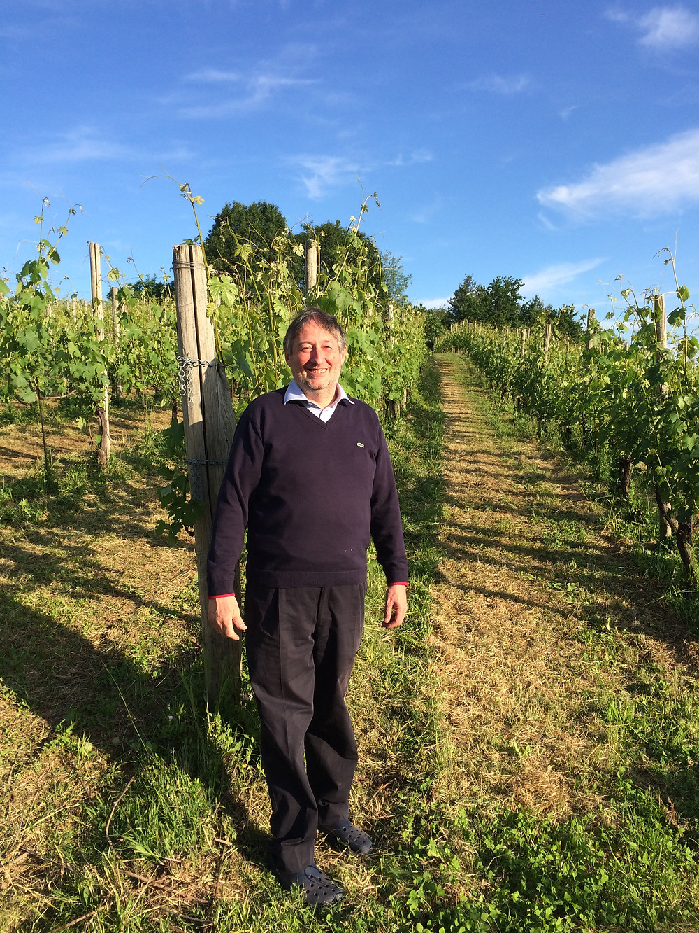 Alberto Arlunno in the Cantalupa vineyards