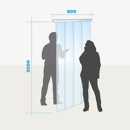Rideau de séparation pour porte avec lamelles transparentes