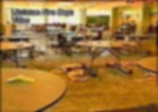 Columbine crime scene photo: cafeteria Fire Dept Harris