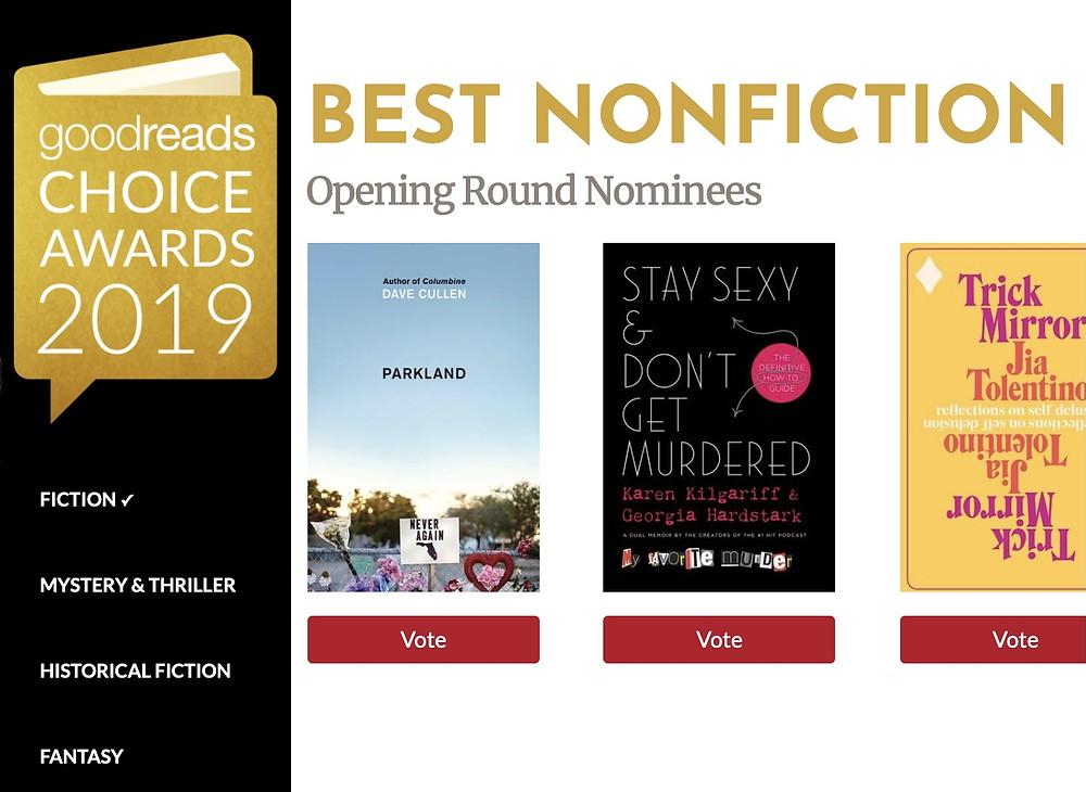 Parkland Goodreads Choice Awards nonfiction 2019