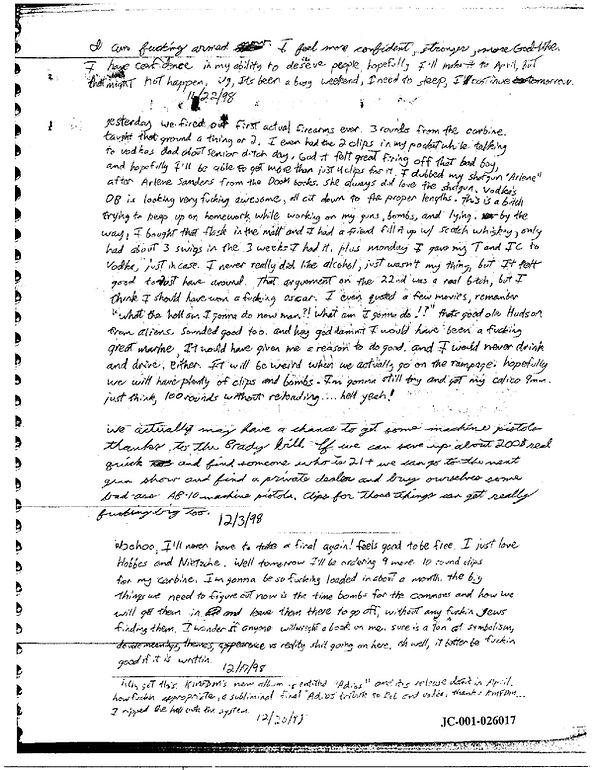 Eric Harris journal, Book of God, Columbine firearms