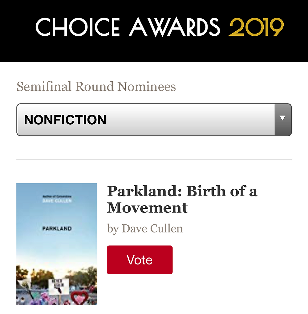 Parkland Goodreads Choice Award Best Nonfiction semi-finals