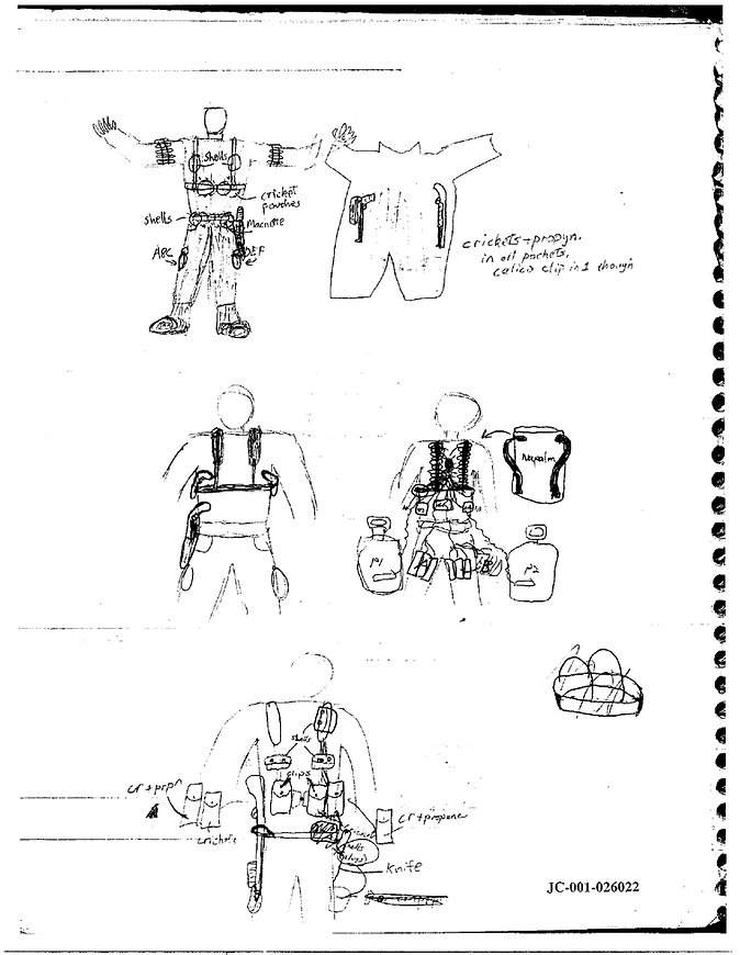 Eric Harris journal drawing, Columbine gear napalm