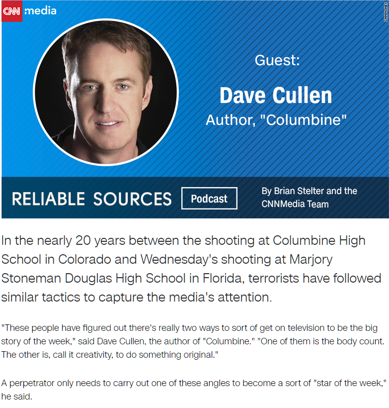Dave Cullen CNN Reliable Sources podcast Brian Stelter Parkland Douglas #NeverAgain