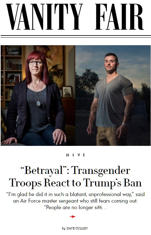 Sergeant Logan Ireland, Allyson Robinson, SPARTA transgender military Vanity Fair