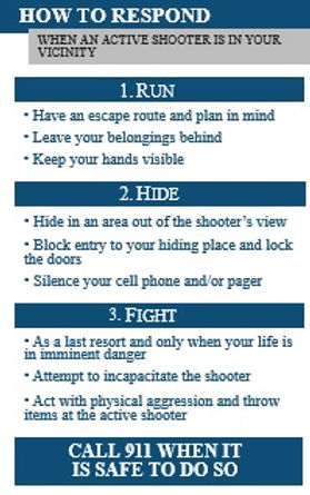 TSA Run, Hide, Fight card--Active Shooter, Columbine