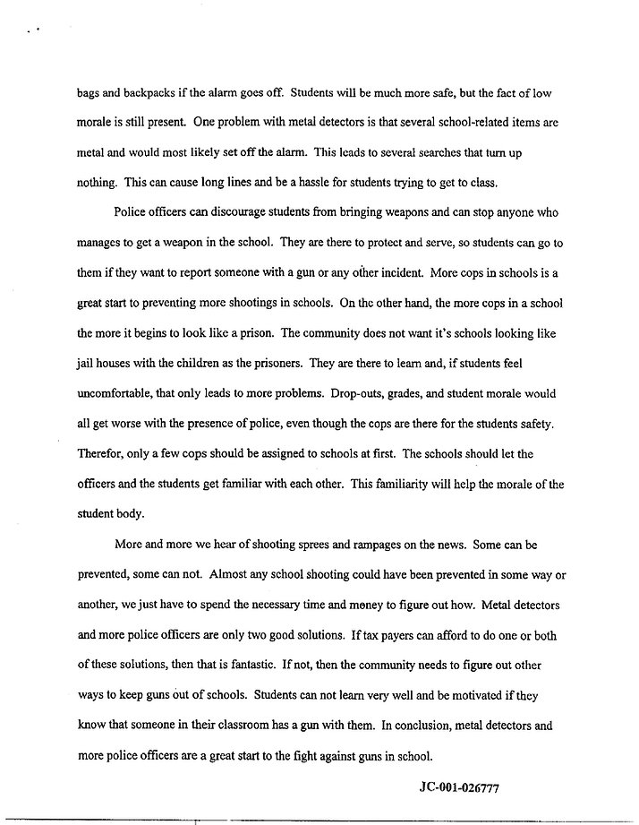 Eric Harris Essay On School Shooters  The Columbine Guide Eric Harris Essay On School Shooters P  Columbine Rampage Spree Shooting Compare And Contrast Essay About High School And College also An Essay On Health  Custom Writings Scam