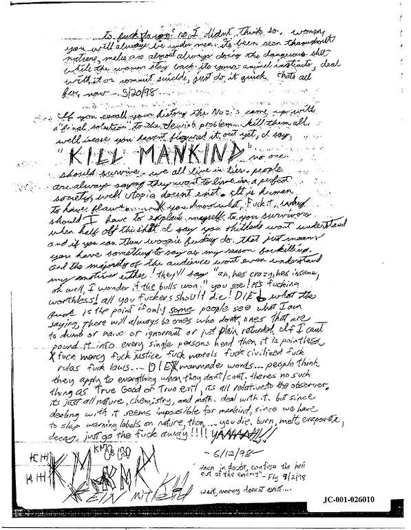 Eric Harris journal, Book of God, Columbine Kill Mankind