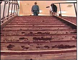 Columbine crime scene photo: cafeteria staircase commons stairs