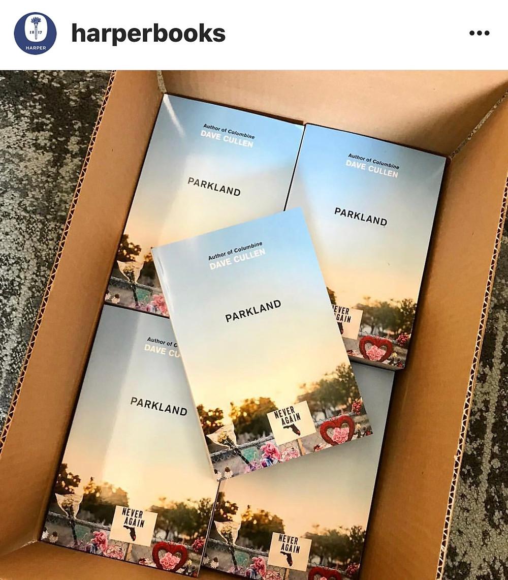 Parkland book Dave Cullen box of galleys HarperCollins