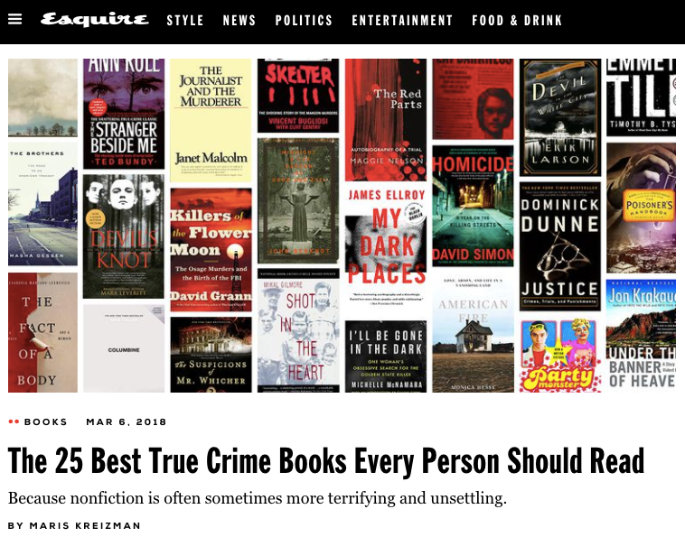Esquire Best True Crime Columbine 'In Cold Blood' 'Devil in the White City' 'Dominick Dunne'