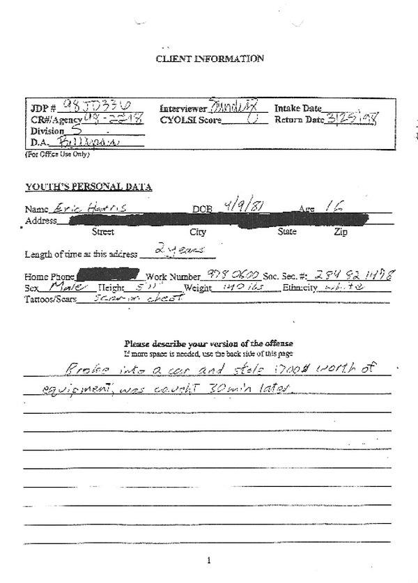 Eric Harris Diversion questionnaire van break-Columbine