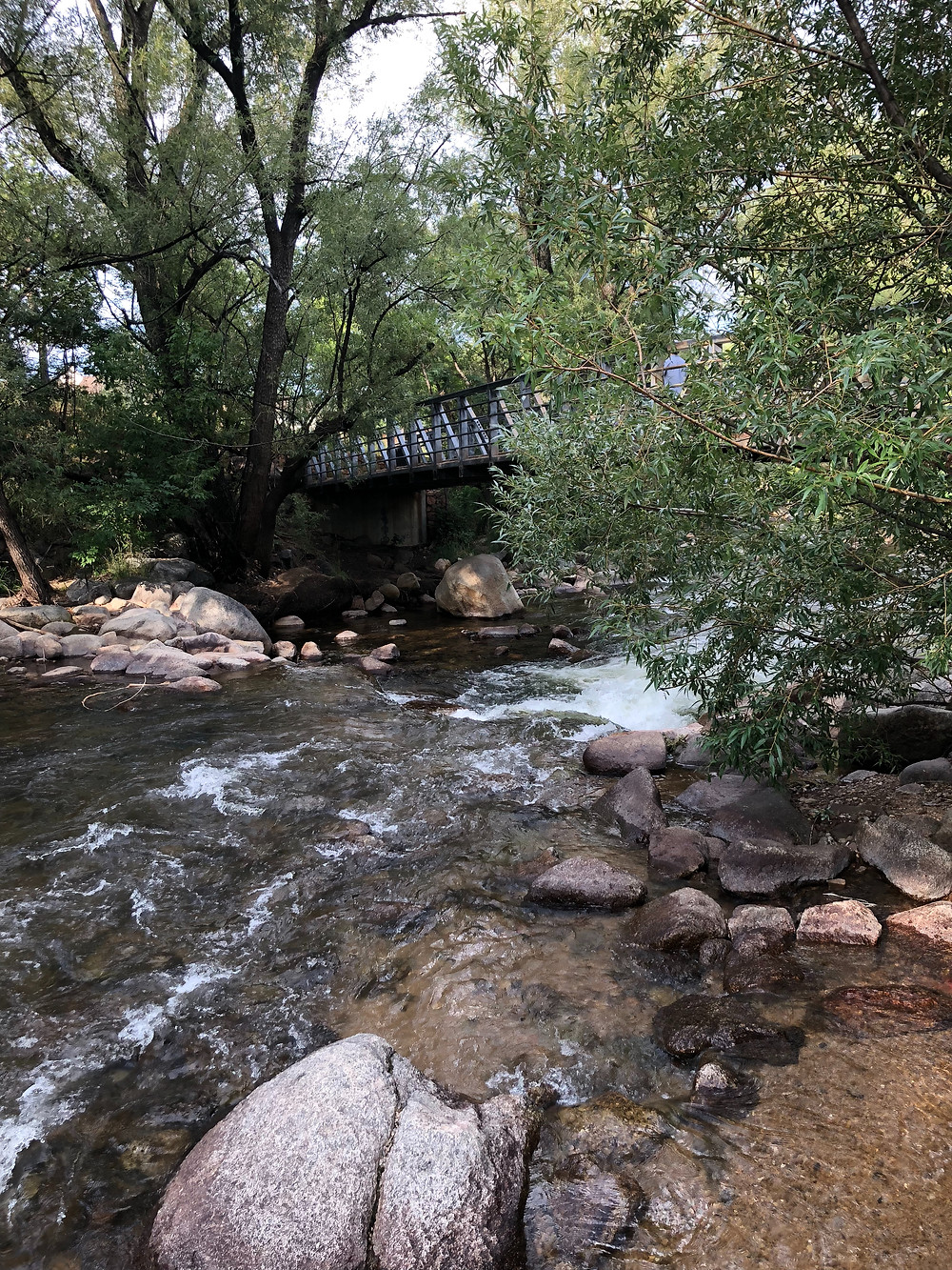 Boulder Creek Colorado bridge rapids writing