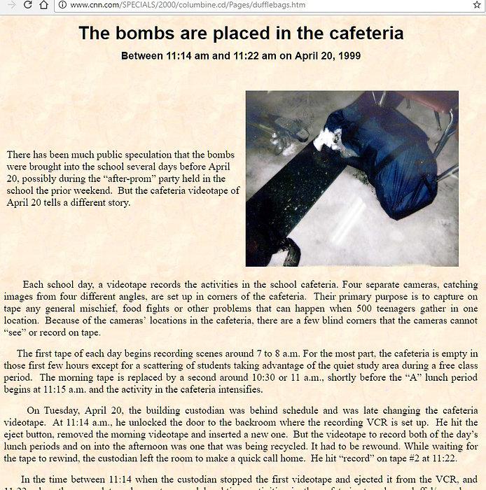 Columbine bomb's placed in cafeteria