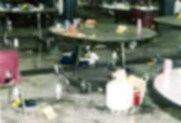 Columbine cafeteria propane bomb gas can, clutter from panic