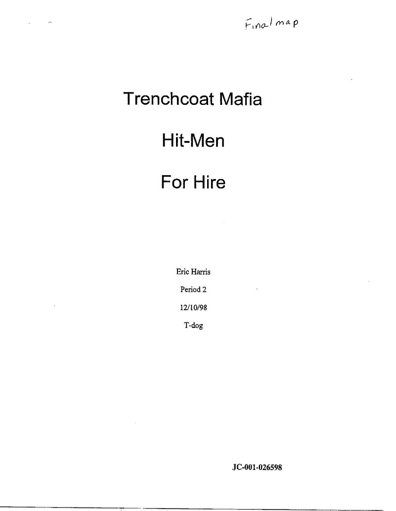 Eric Harris Hitmen For Hire plan, p.1 -- Columbine, Trenchcoat Mafia, Dylan Klebold