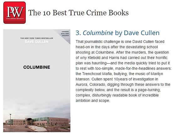 PW 10 Best True Crime books, Columbine Dave Cullen