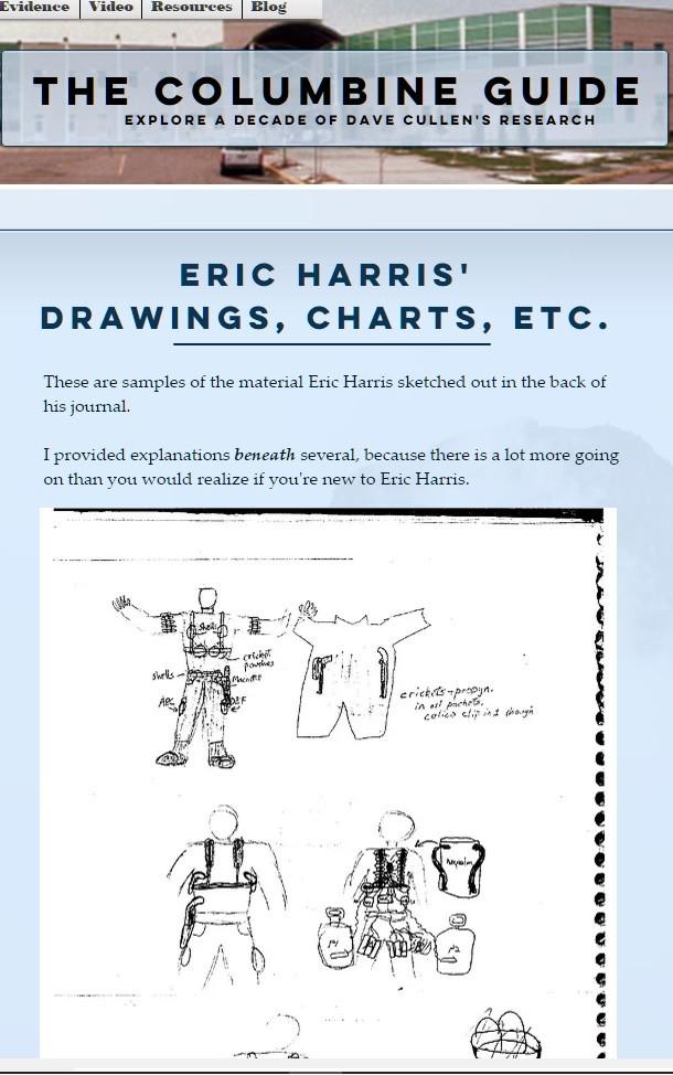 Columbine guide Eric Harris drawings gear napalm equipment
