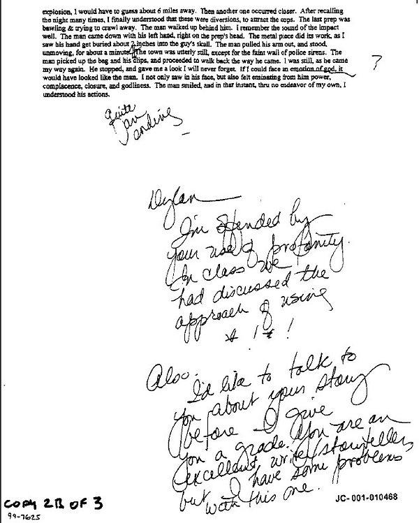 Dylan Klebold Preps Creative Writing story p. 2 Columbine
