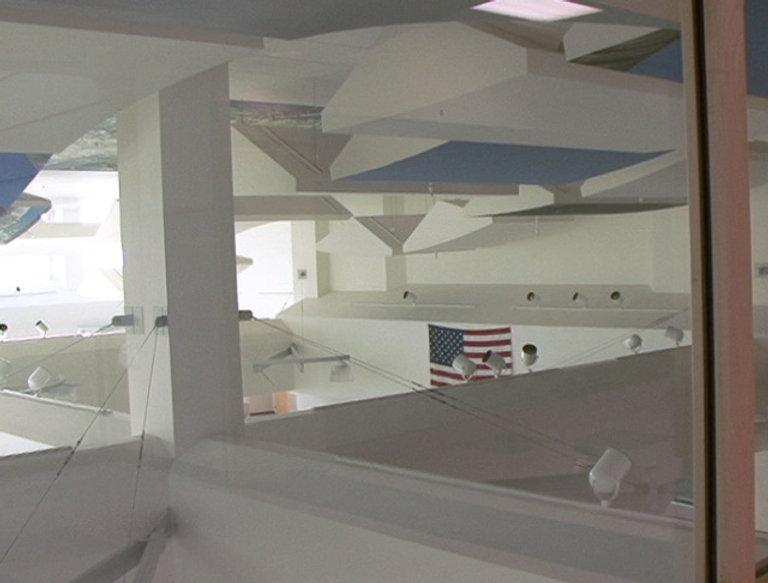Columbine High interior cafeteria commons atrium flag