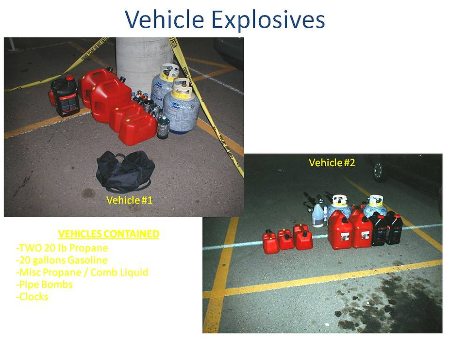 Columbine propane bomb car, explosive clock incendiary device gasoline tanks