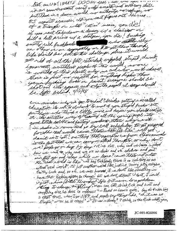 Eric Harris journal, Book of God, Columbine Doom