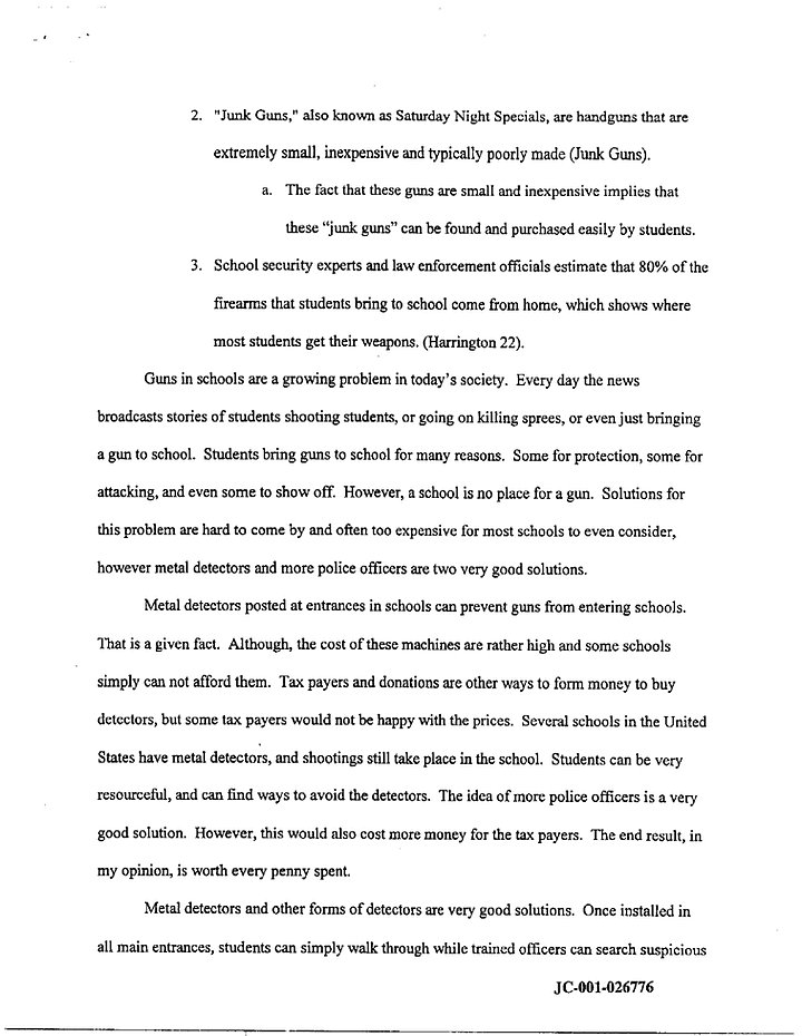 School shootings essay