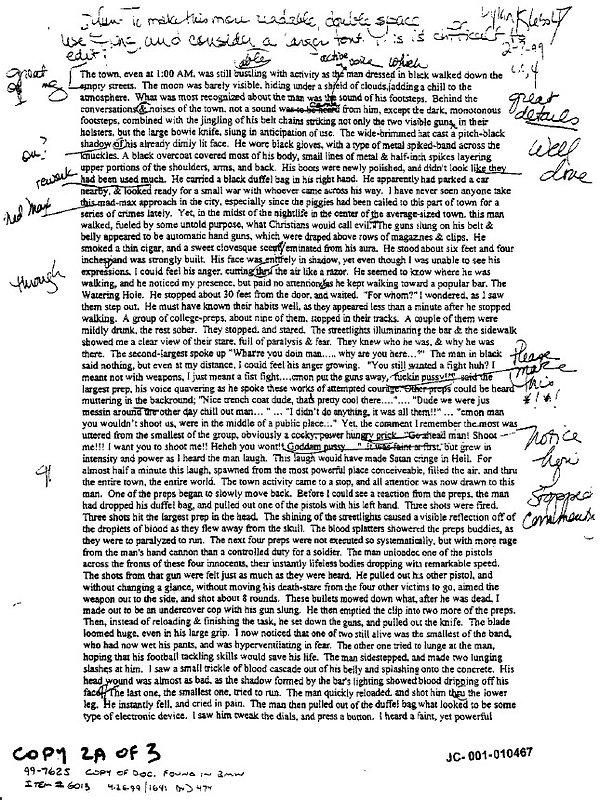 Dylan Klebold Preps Creative Writing story p. 1 Columbine