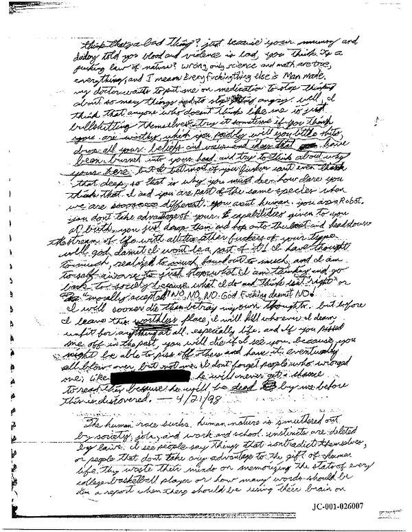 Eric Harris journal, Book of God, Columbine