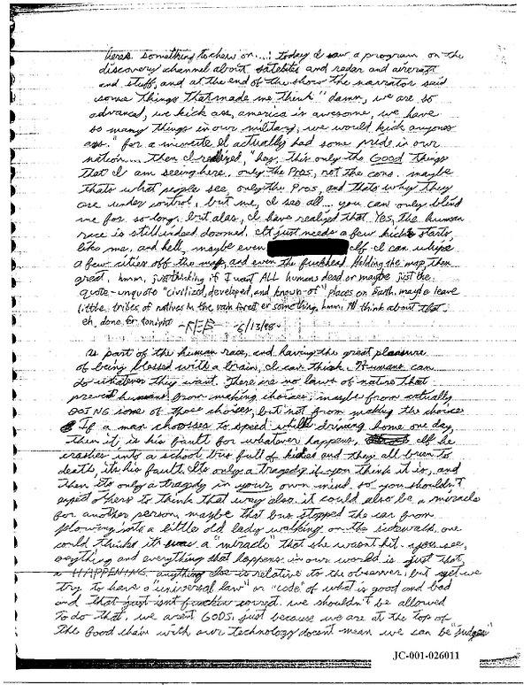 Eric Harris journal, Book of God, Columbine June