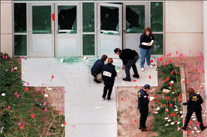 Columbine crime scene photo: West entrance shattered doors exterior