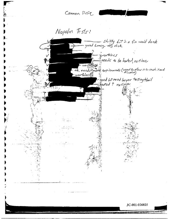 Eric Harris journal napalm tests, Columbine