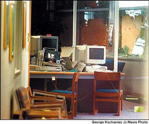 Columbine crime scene photo: library computer monitor