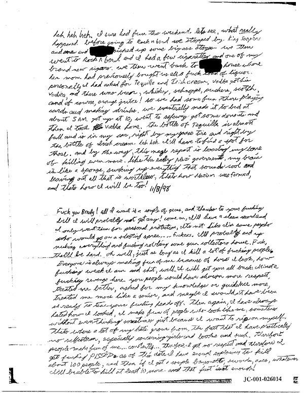 Eric Harris journal, Book of God, Columbine James Brady
