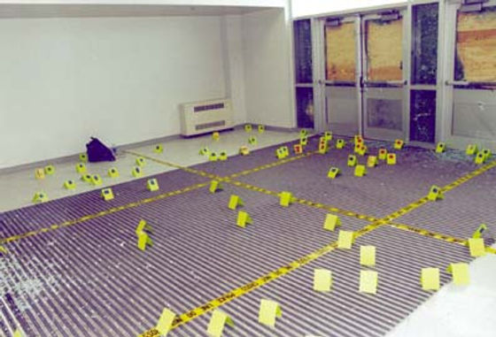 Columbine crime scene photo: West entrance shattered doors interior
