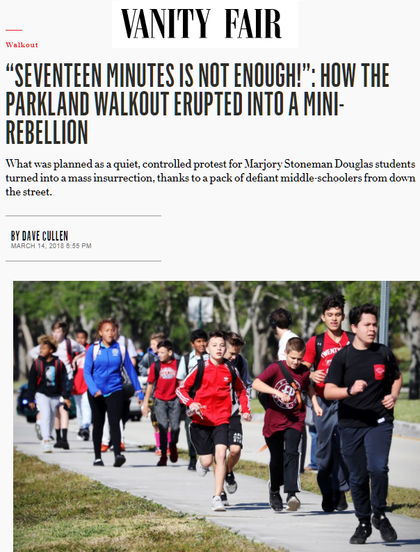 Parkland Douglas school walkout Vanity Fair MSD #NeverAgain Never Again
