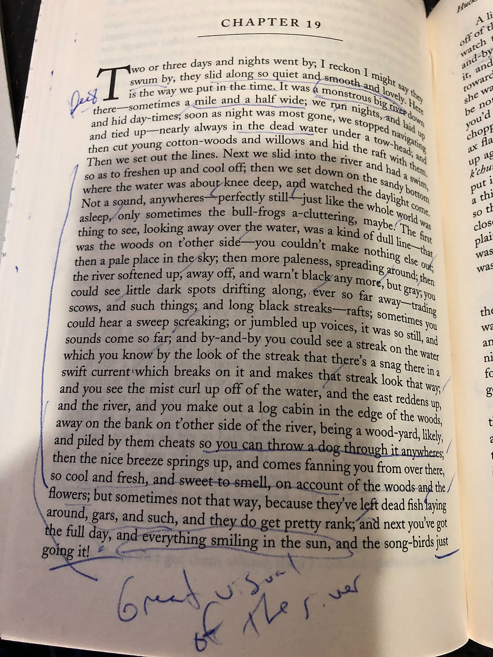 Huckleberry Finn B&N edition Chapter 19 on the river highlighted