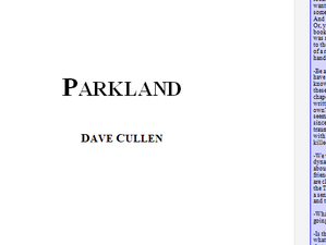 'Finished' writing my PARKLAND book!