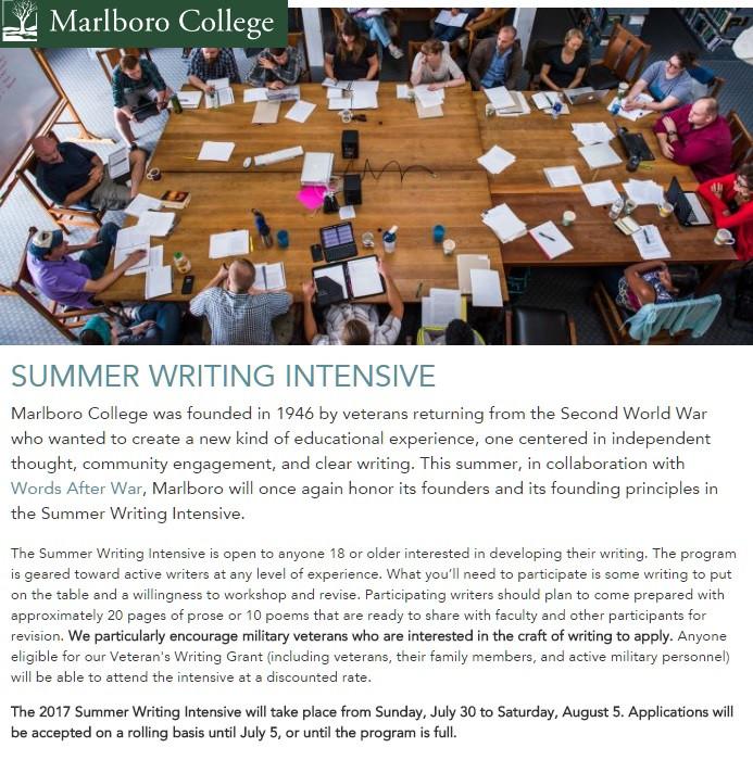 Words After War Marlboro College summer writing intensive