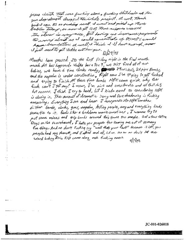 Eric Harris journal, Book of God, Columbine April final entry