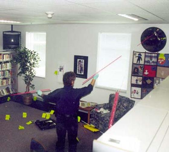 Columbine crime scene photo: library detective evidence