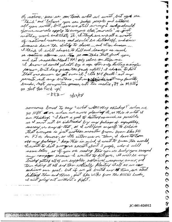 Eric Harris journal, Book of God, Columbine NBK