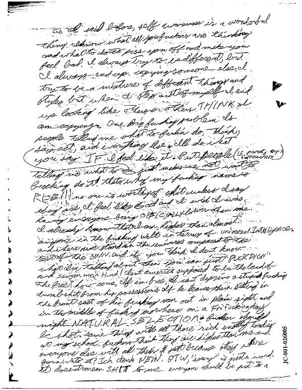 Eric Harris journal van 'fucker should be shot'-Columbine