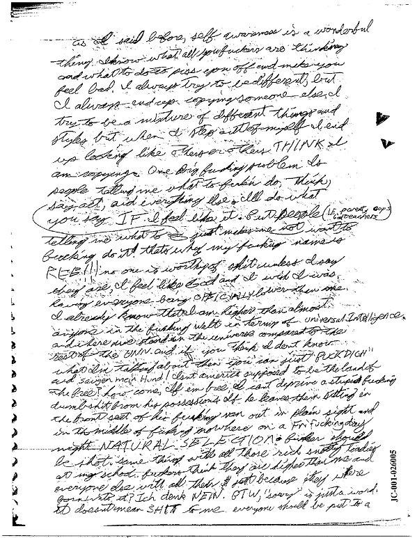 Eric Harris journal, Book of God, Columbine p.3 Natural Selection