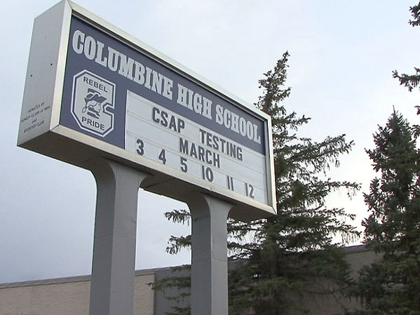 Columbine High exterior sign Rebels Pride logo