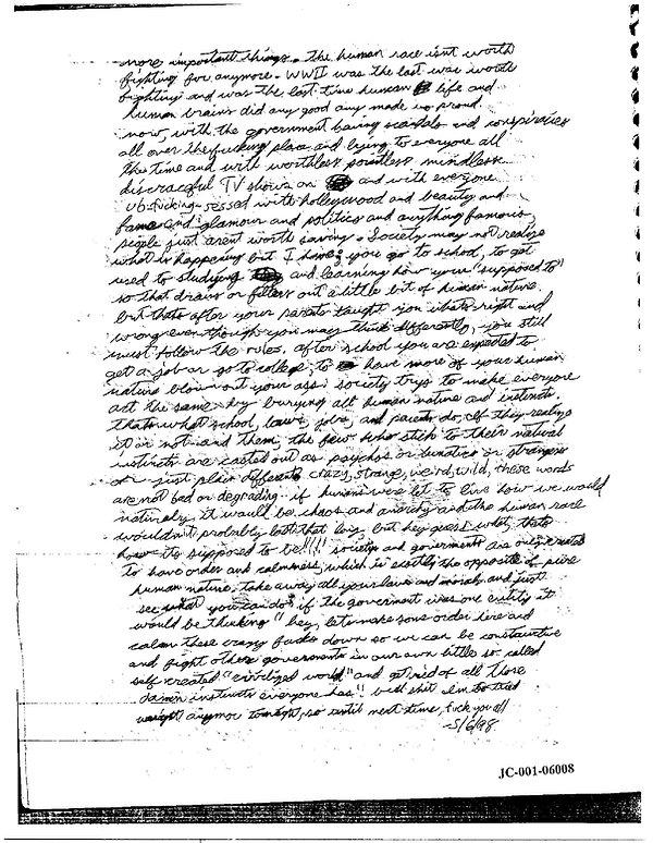 Eric Harris journal, Book of God, Columbine crazy