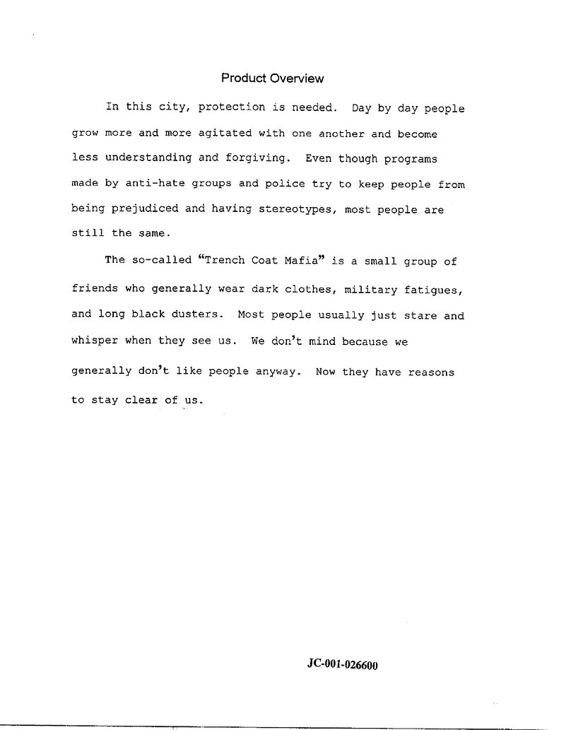 Eric Harris Hitmen For Hire plan, p.3 Product Overview -- Columbine, Trenchcoat Mafia, Dylan Klebold