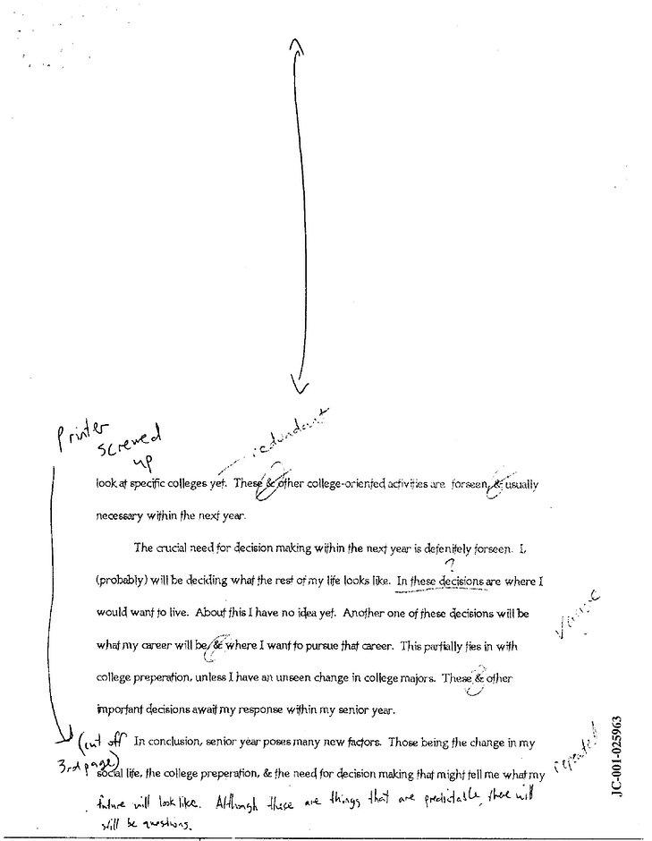"Dylan Klebold ""senior predictions"" school essay p. 2 future"
