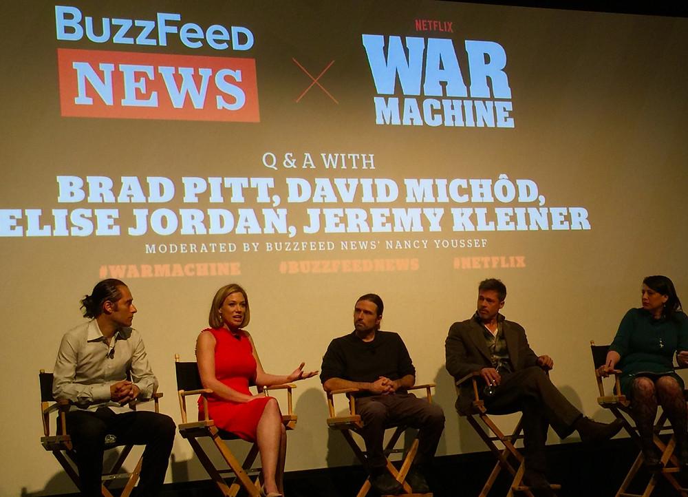 Elise Jordan, Brad Pitt, War Machine, David Michod, Jeremy Kleiner, Nancy Youssef, Buzzfeed NYC premiere Michael Hastings