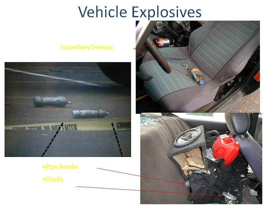 Columbine propane bomb car, explosive clock incendiary device